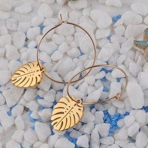 Gold Monstera Earrings